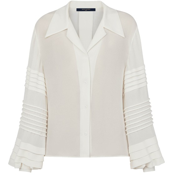 Louis Vuitton Button-up Blouse With Intricate Sleeves In Blanc