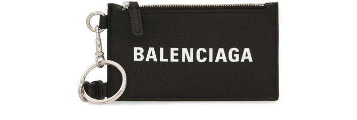 발렌시아가 카드 지갑 Balenciaga Cash Card Case on Keyring,black/l white