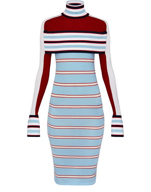 Louis Vuitton Striped Turtle Neck Knit Dress With Band In Multi