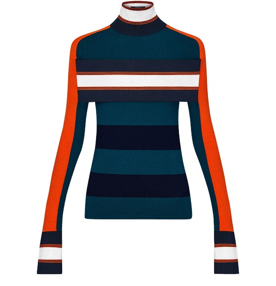 Louis Vuitton Striped Turtle Neck Pullover With Band In Multi