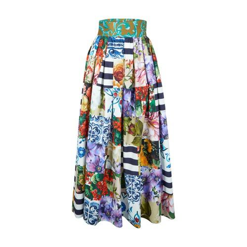 Dolce & Gabbana Pleated skirts PATCHWORK LONG SKIRT