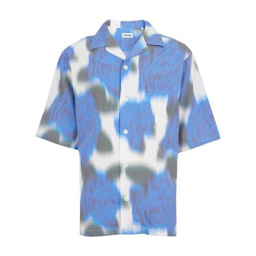 Kenzo Printed Short Sleeves Shirt In Cyan