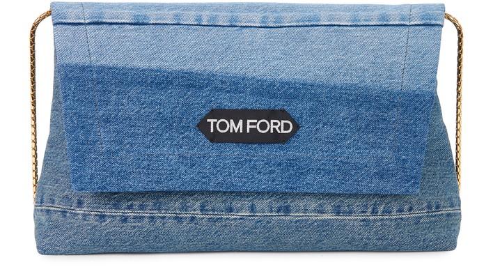 톰포드 라벨백 미디움 Tom Ford Label medium bag,washed blue