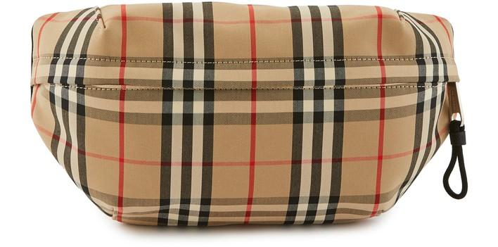 버버리 빈티지 체크 범백 미디움 Burberry Medium Vintage Check Bonded Cotton Bum Bag,archive beige