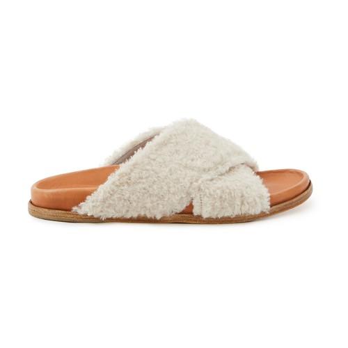 Sandales croisées en fausse fourrure
