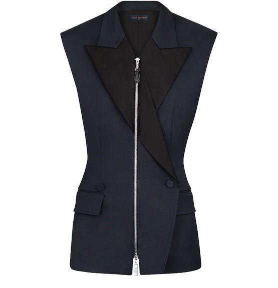Louis Vuitton Sleeveless Zip-up Blazer In Black