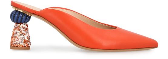 Jacquemus Maceio Embellished-heel Leather Mules In Orange