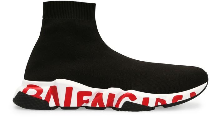 발렌시아가 스피드러너 그래피티 - 블랙 화이트 레드 Balenciaga Speed Graffiti Sneaker