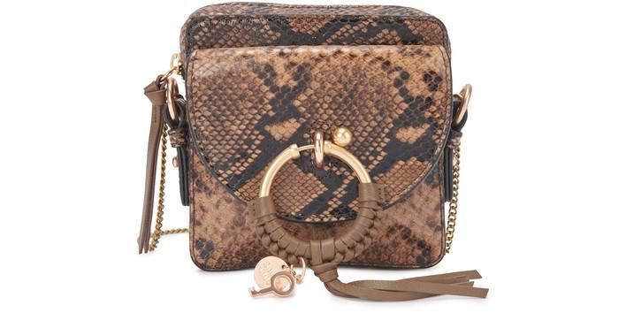 씨 바이 끌로에 See by Chloe Small Joan bag embossed python,coconut brown
