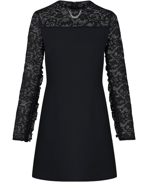 Louis Vuitton Monogram Lace Frill Sleeve Dress In Black