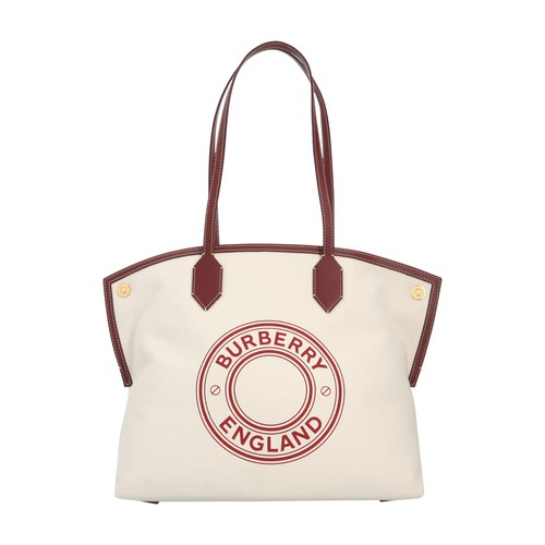 Burberry Society Canvas Tote Bag In Nat Garnet Geranium