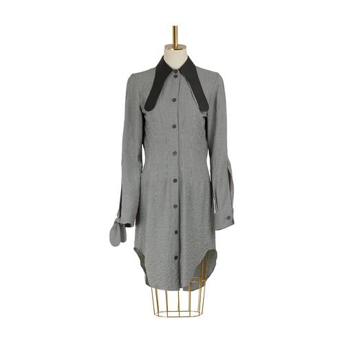 Chemise longue avec col en cuir