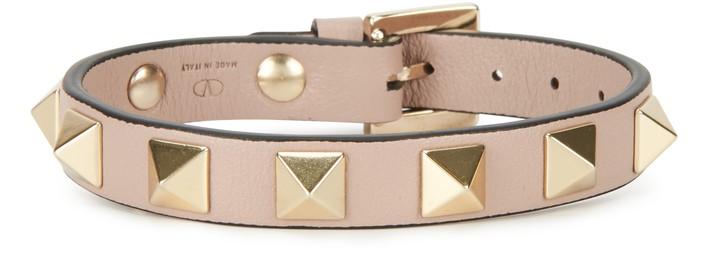 발렌티노 Valentino Garavani - Rockstud Leather Bracelet,poudre