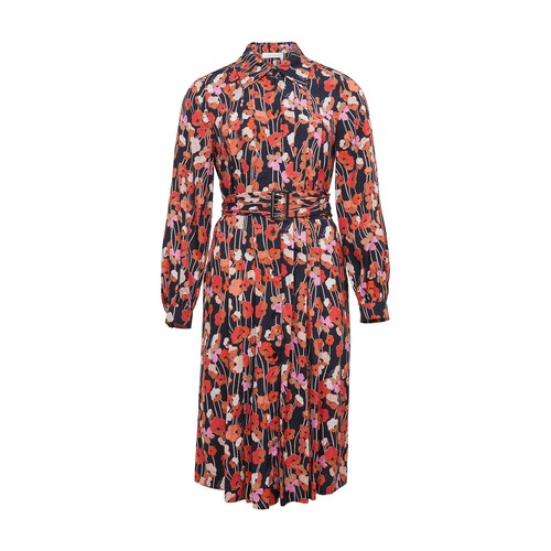 See By Chloé Printed Crew Neck L/s Long Dress In Multicolor Blue 1