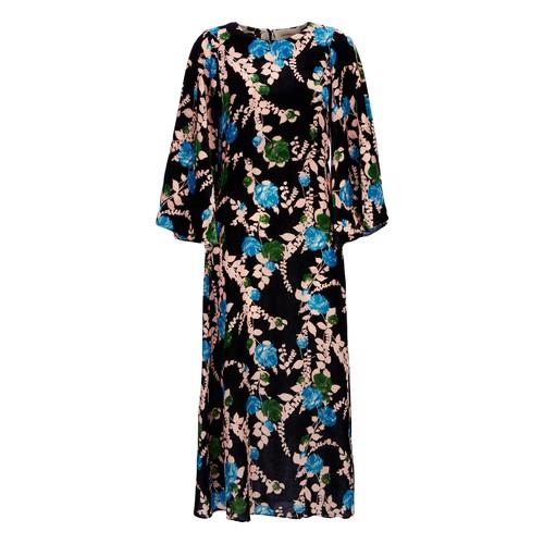 La Doublej Sorella Floral Maxi Dress In Winter Rose Nero