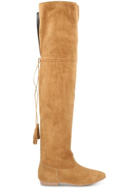 Women's Chat Botté Over-The-Knee Flat Boot In Suede Calfskin   CELINE   24S