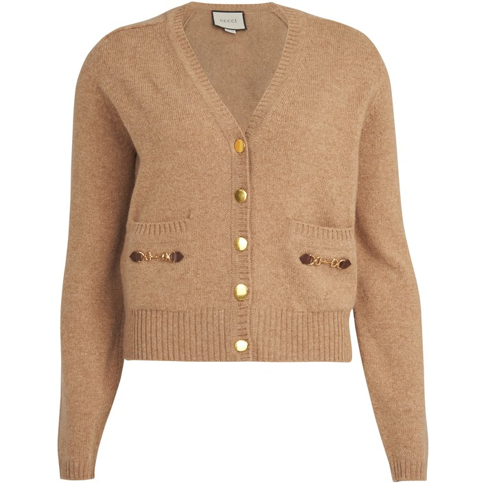 구찌 Gucci Horsebit cardigan,camel/mix