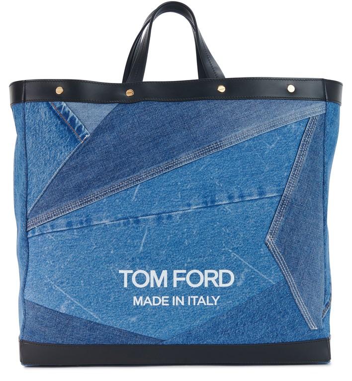 톰포드 T 스크류 쇼퍼백 미디움 Tom Ford T Screw Shopper medium denim patchwork,washed blue/white +black