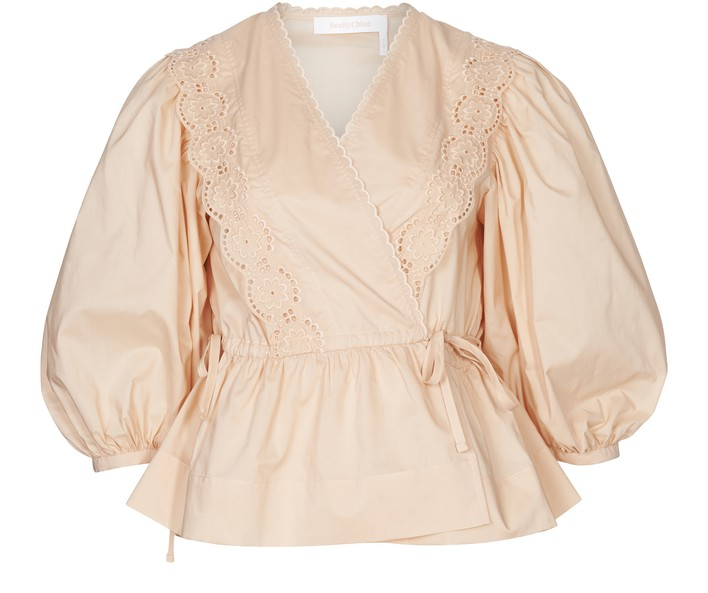 씨 바이 끌로에 See by Chloe Wrap neck blouse,perfect peach
