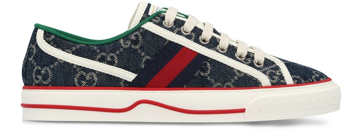 구찌 Gucci Denim Tennis sneakers,blue tea