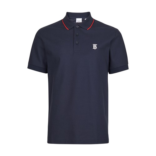 Burberry Polo Shirt In Blue With Iconic Striped Pattern In Navy