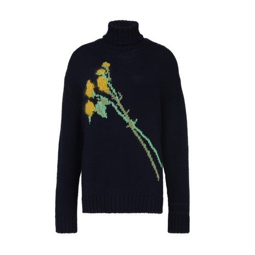 Bernadette Sofia Floral Turtleneck Sweater In Navy Intarsia Yellow Rose