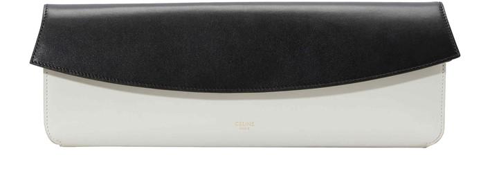 셀린느 Celine Evening clutch in smooth calfskin,white/black
