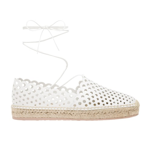 Gianvito Rossi Women's Thierry Ankle-wrap Perforated Leather Espadrilles In White