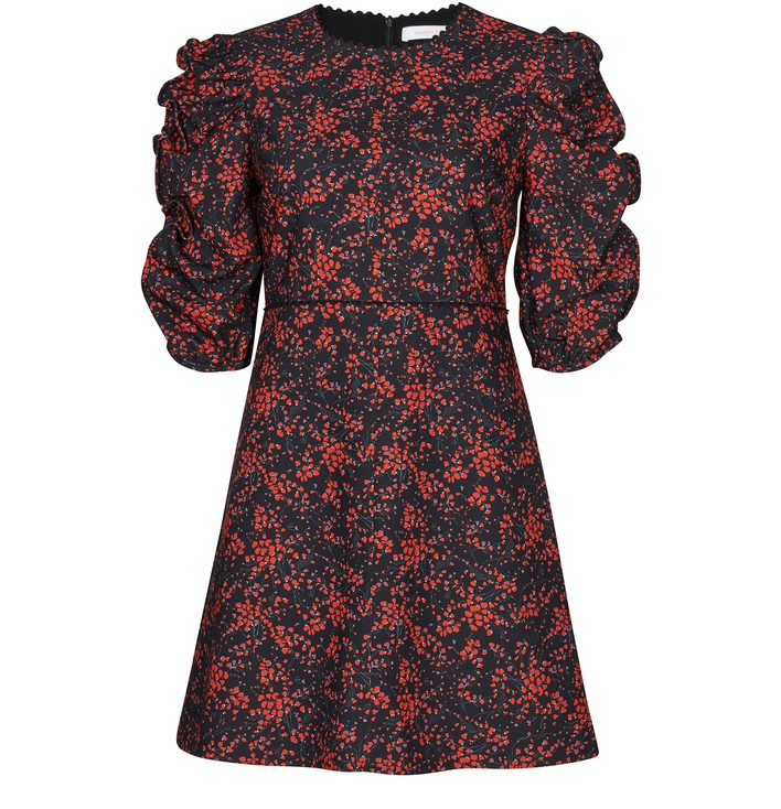 씨 바이 끌로에 See by Chloe Floral print dress,black - red 1