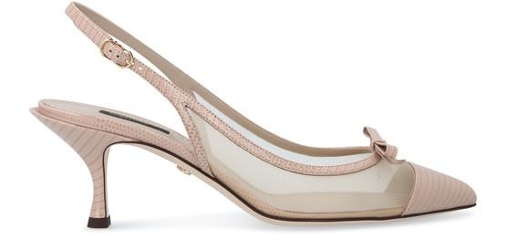 Dolce & Gabbana Leather And Mesh Lori Slingback Heels 60 In Beige/nude