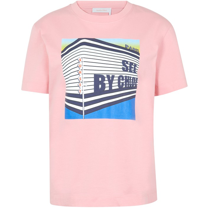 씨 바이 끌로에 See by Chloe Cotton T-shirt,quartz pink
