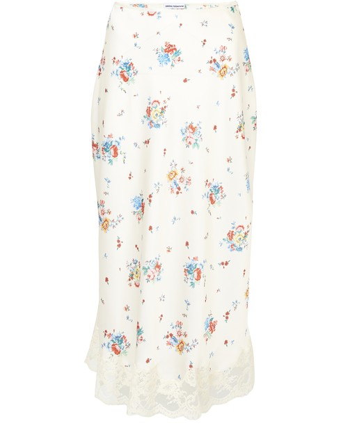 Paco Rabanne Floral Skirt With Lace Hem In Ivory Grungy Romantic In V260