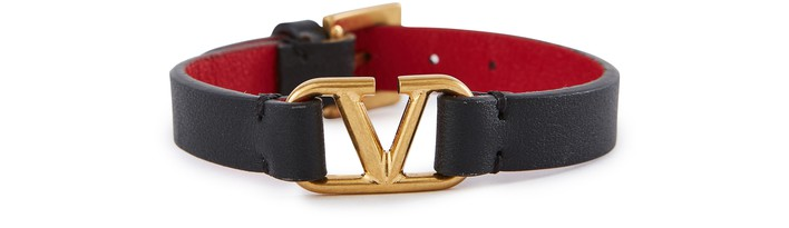 발렌티노 Valentino Garavani - leather Vlogo bracelet,nero/rouge pur