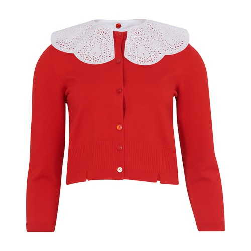 Patou Cardigan With Embroidered Collar In Capucine Red