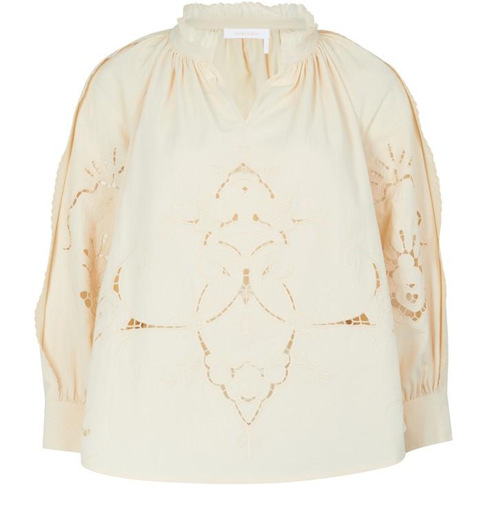 씨 바이 끌로에 See by Chloe Embroidered blouse,buttercream