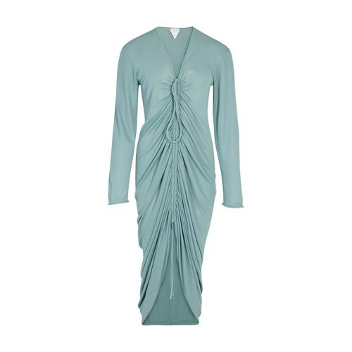 Midi glossy viscose dress