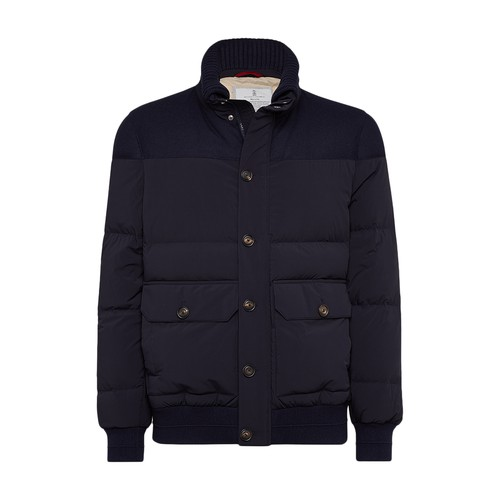 Brunello Cucinelli Quilted Nylon And Wool Down Jacket In Bleu Marine