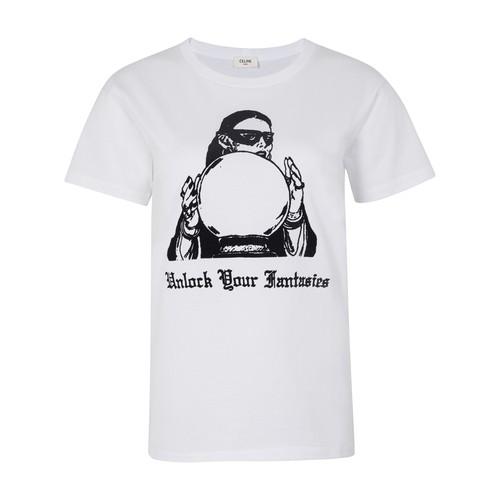 위드 크리스탈 볼 프린트 져지 라운드 넥 클래식 티셔츠