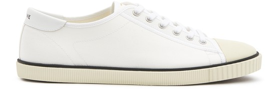 Celine Blank canvas and calfskin low lace up sneakers