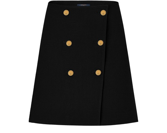 Louis Vuitton Wool And Silk Button Skirt In Black