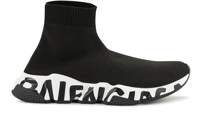 발렌시아가 스피드러너 여성용 - 그래피티 블랙 Balenciaga Speed Graffiti sneakers,black/white/black