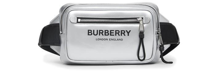 버버리 로고 벨트백 Burberry Logo metallic coated canvas belt bag,silver