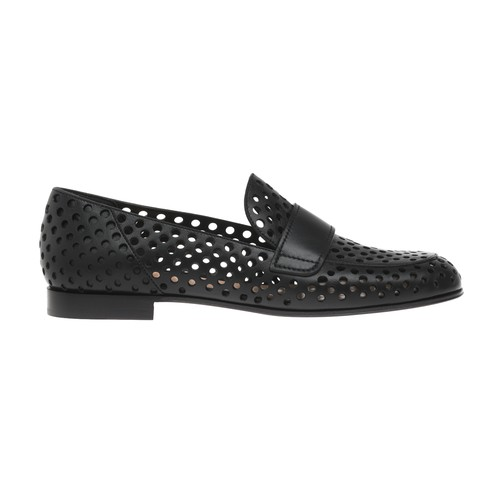 Gianvito Rossi Perforated Leather Flat Loafers In Black
