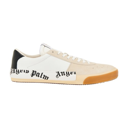 Palm Angels Logo Leather And Suede Sneakers In White Black