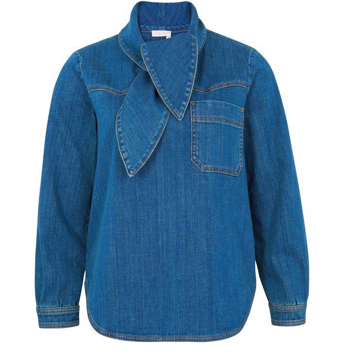 씨 바이 끌로에 See by Chloe Denim blouse,harbor blue