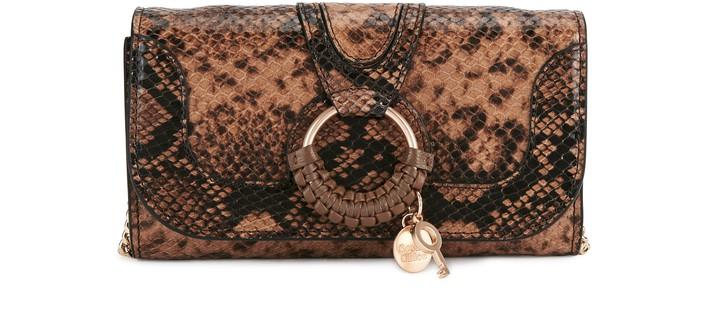 씨 바이 끌로에 See by Chloe Hana long wallet on chain,coconut brown