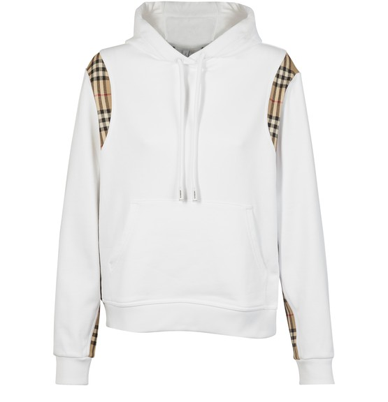 Burberry Cottons VINTAGE CHECK PANEL COTTON OVERSIZED HOODIE