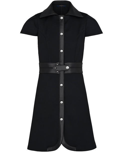 Louis Vuitton Dress With Leather Inserts In Noir