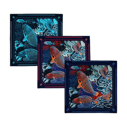 Gift Box 3 Pocket Squares Underwater