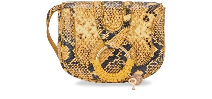 씨 바이 끌로에 See by Chloe Mini Hana bag embossed python,golden green